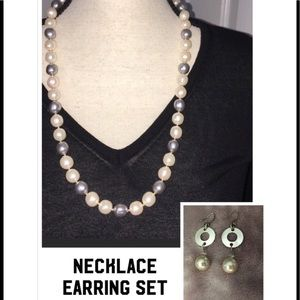 Faux Pearl Necklace and Earrings Set